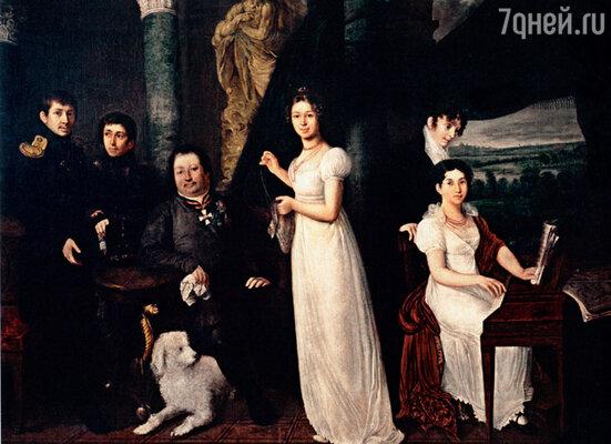 Репродукция картины «Семейный портрет графа Моркова» кисти Василия Тропинина, 1813 г. Государственная Третьяковская галерея