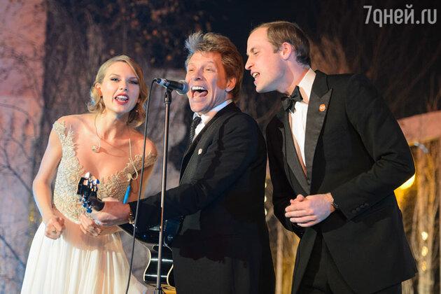 Принц Уильям, Тейлор Свифт (Taylor Swift) и Джон Бон Джови (Jon Bon Jovi) исполняют песню «Livin'on a prayer»