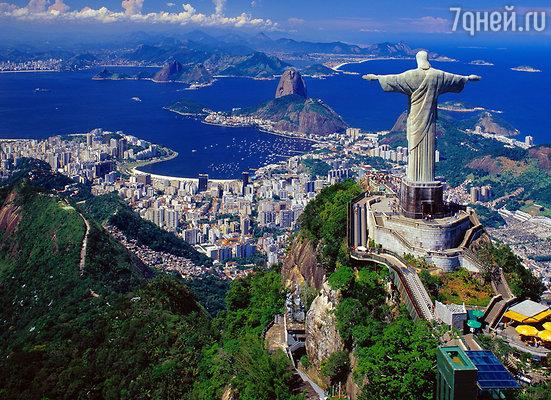Панорама Рио — статуя Иисуса Искупителя на вершине Корковаду