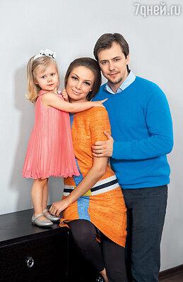 Татьяна Арнтгольц и Иван Жидков с дочерью Машей