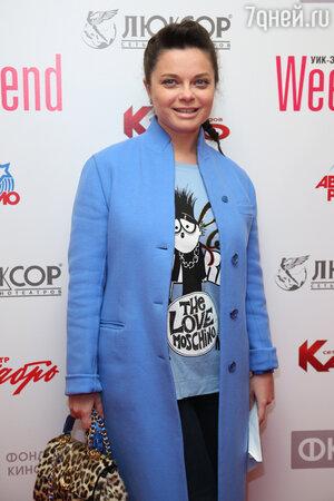 Наташа Королева в пальто от Ermanno Scervino и кофте от Moschino на премьере фильма «Weekend»