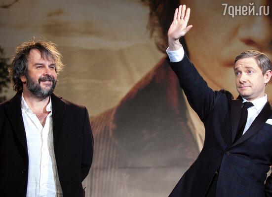 С режиссером ПитеромДжексоном напремьере фильма вТокио. 1декабря 2012 г.