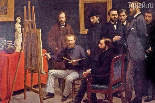 Фото репродукции картины «Ателье в Батиньоле» работы Анри Фантен-Латура, 1870 г. музей Орсе, Париж