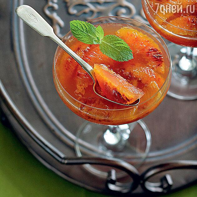 Желе из красных апельсинов с кардамоном