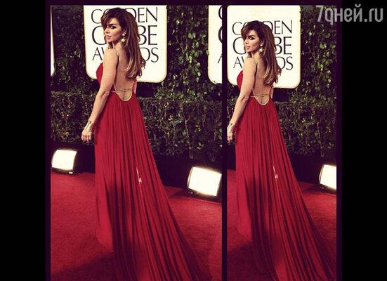 Для красной ковровой дорожки Седокова выбрала красное платье от «Michael Costello»