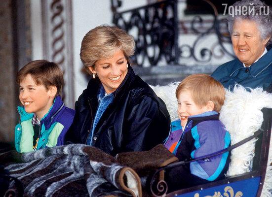 Ольга Пауэлл — няня Уильяма и Гарри— помогла Диане воспитать принцев. 1993 г.