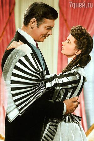 Вивьен Ли и Кларк Гейбл в фильме «Унесённые ветром». 1939 г.