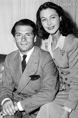 Вивьен Ли и Лоуренс Оливье в день свадьбы. 1940 г.
