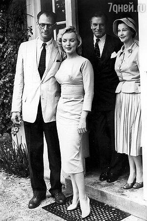 Вивьен Ли и Лоуренс Оливье с Мэрилин Монро и Артуром Миллером. 1956 г.