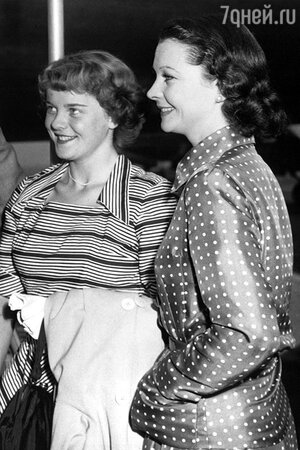 Вивьен Ли с дочерью Сюзанной Холман. 1952 г.