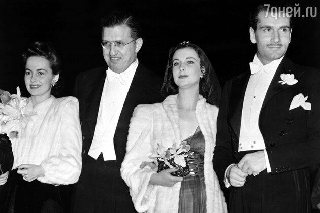 Оливия де Хэвилленд, Дэвид Селзник, Вивьен Ли и Лоуренс Оливье на премьере фильма «Унесённые ветром». Атланта,  1939 г.