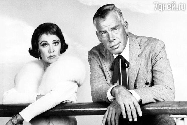 Вивьен Ли и Ли Марвин  в последнем фильме Вивьен «Корабль дураков». 1965 г.