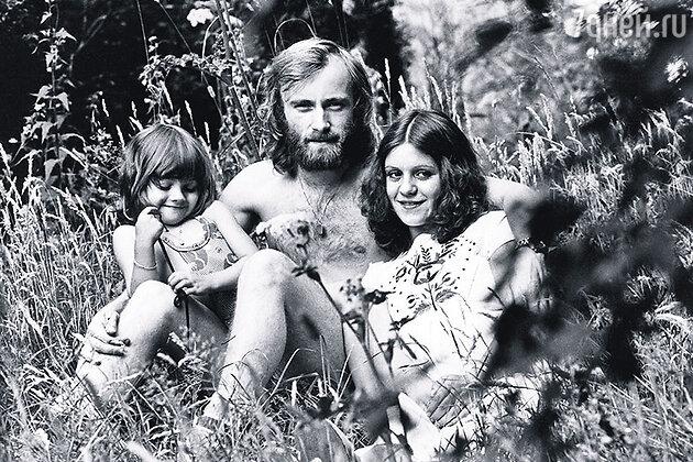 Фил Коллинз с женой и дочерью Джоли, 1976 г.