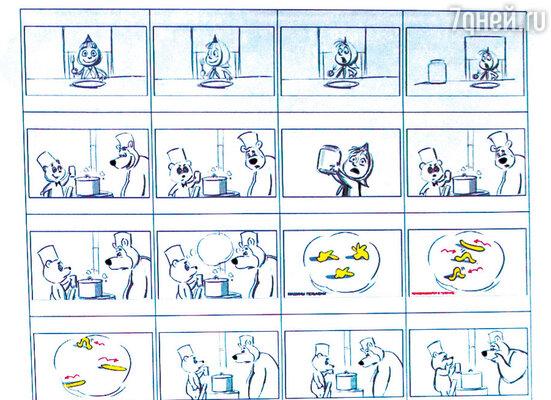 Сценарий мультфильма похож на обычный комикс