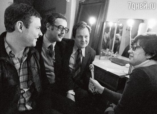 Виталий Соломин, Василий Ливанов и Виктор Павлов перед спектаклем. 1983 г.