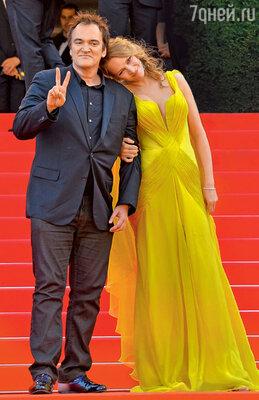 Ума Турман и Квентин Тарантино на 67-м Каннском кинофестивале. Май 2014 г.