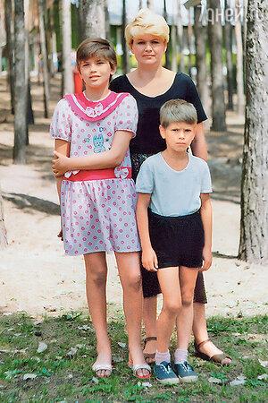 Юлия Галкина с мамой и братом