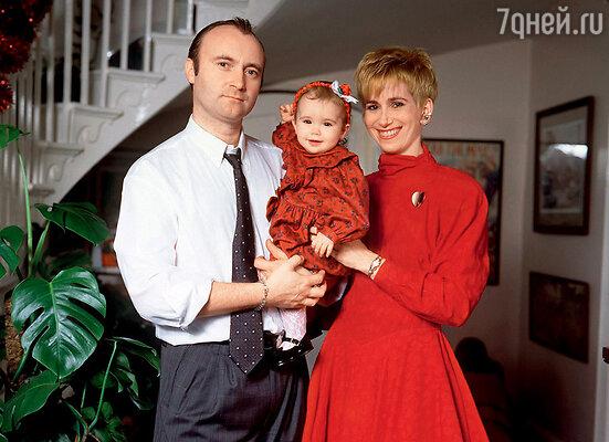 Фил и Джилл Коллинз сдочерью Лили. 1989 г.