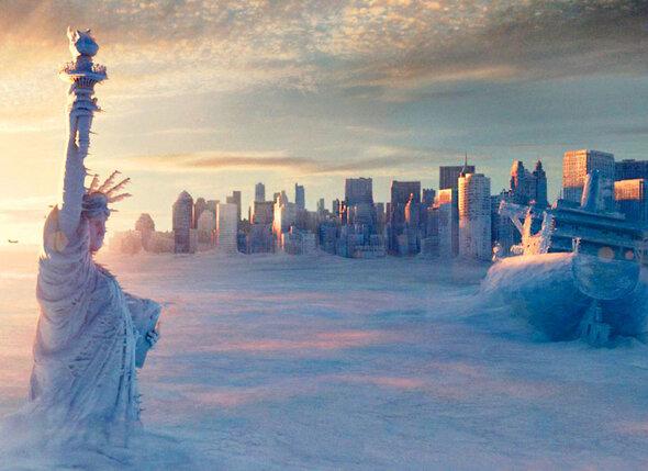 Согласно сценарию фильма «Послезавтра» (2004 г.) мир погибнет от всеобщего оледенения
