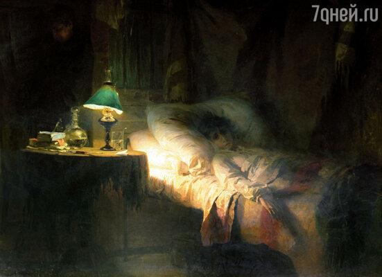 Когда Маруся заболела, Поленов набросал рисунок. Потом этот этюд стал картиной «Больная». Фото репродукции картины В. Поленова. Государственная Третьяковская галерея