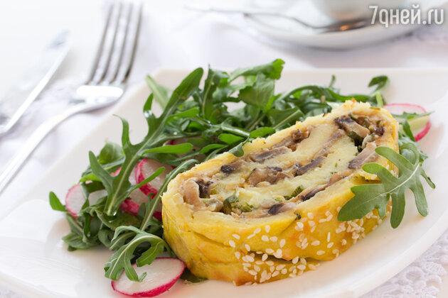Рулет с сыром и грибами