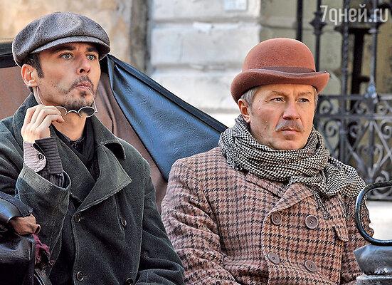 Андрей Панин с Игорем Петренко всериале «Шерлок Холмс». 2013 г.