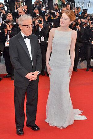 Вуди Аллен и  Эмма Стоун на премьере фильма «Иррациональный человек»