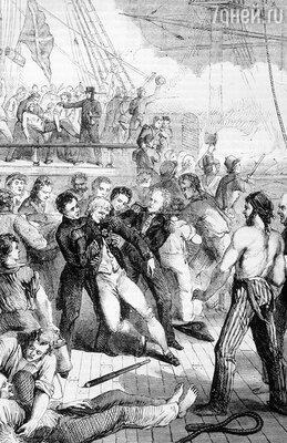 Адмирал Нельсон принял смерть на линкоре «Виктория». Гравюра  1862 года