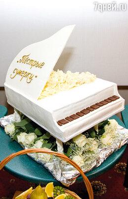 Шоколадный торт в виде рояля
