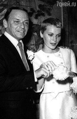 свадебная фотография Фрэнка Синатры и Миа Ферроу, 1966 год