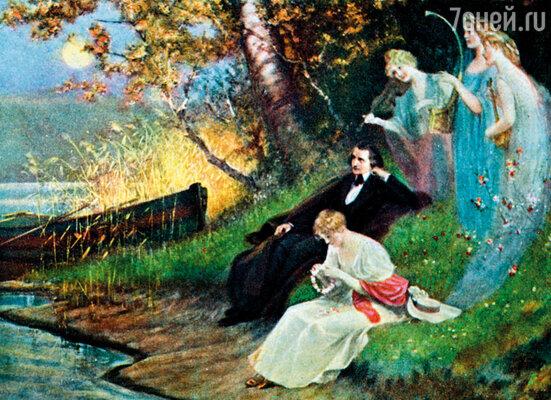 Репродукция картины Карла Швенингера «Роберт Шуман с музами», 1910 г.