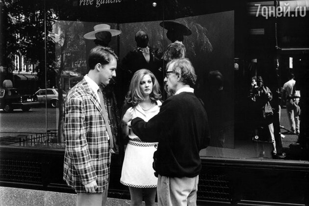 Дрю Бэрримор и Эдвард Нортон на съемках картины Вуди Аллена «Все говорят: Я люблю тебя»