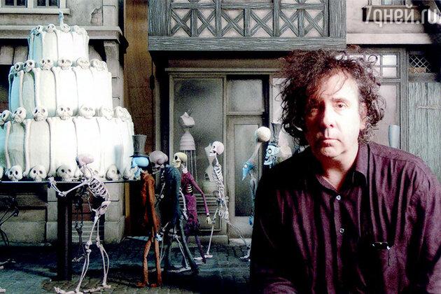 Тим Бертон в декорации фильма «Труп невесты»