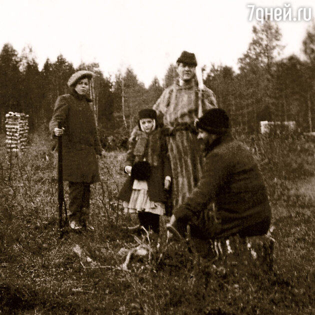 Константин Коровин с сыном и Федор Шаляпин с дочерью