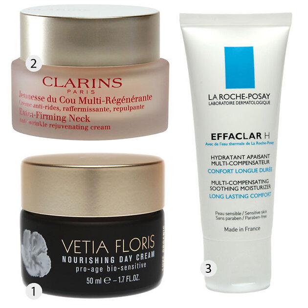 1.Питательный крем Vetia Floris; 2.Регенерирующий крем для шеи Clarins; 3.Увлажняющее средство La Roche-Posay