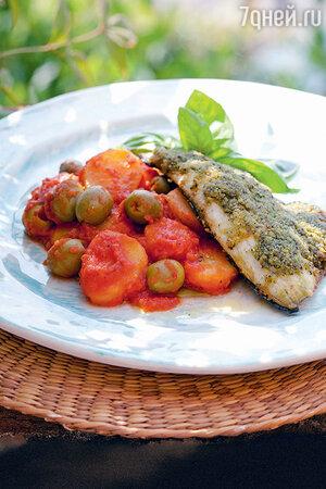Филе сибаса с базиликом, оливками и картошкой
