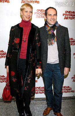 С мужем Михаилом Шацем на премьере фильма «Очень русский детектив». 2008 г.