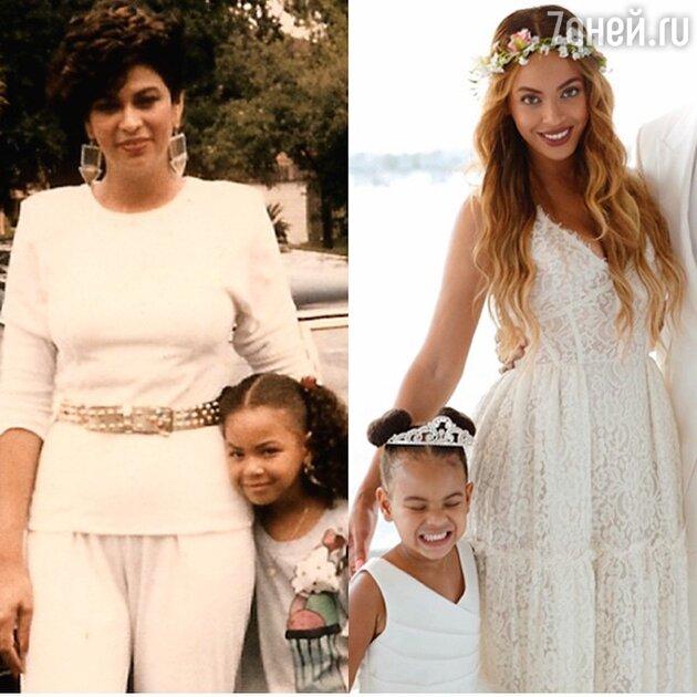 Бейонсе с дочерью (справа) и Бейонсе с матерью в детстве (слева)