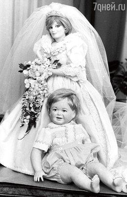 Кукла Диана— в подвенечном платье смладенцем Уильямом