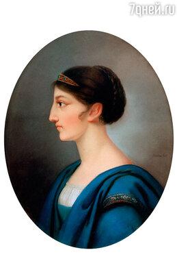 Льющийся из окна лунный свет падал на 17-летнюю Доротею де Талейран-Перигор: бледное лицо, темно-каштановые вьющиеся воосы убраны в высокий пучок на затылке. Фото репродукции картины Доры Шток
