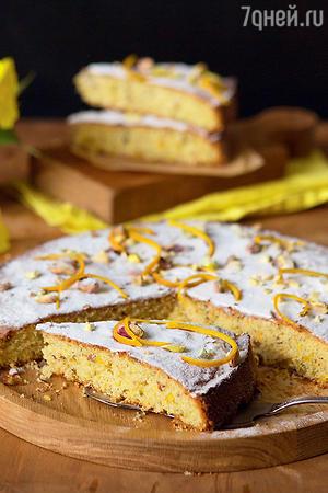 Апельсиново-фисташковый пирог на манке