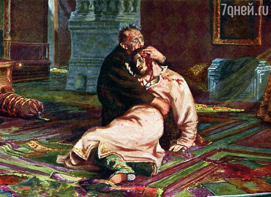 Старшего сына царь Иван Грозный убил в ссоре, когда тот заступился за свою жену. (Репродукция картины «Иван Грозный и сын его Иван 16 ноября 1581» года работы И.Е. Репина. Государственная Третьяковская галерея)