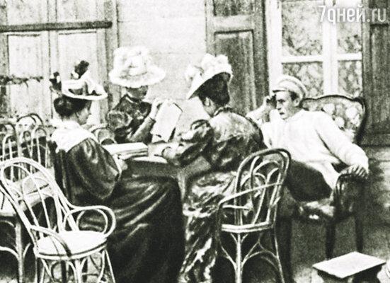 Сергей Рахманинов с сестрами Скалон на балконе в имении Игнатово, 1897 г.
