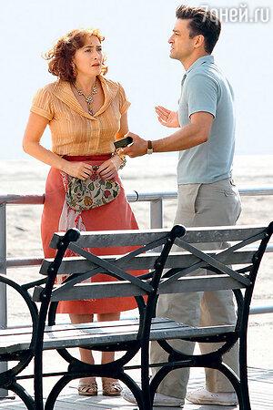Джастин Тимберлейк с  Кейт Уинслет на съемках фильма Вуди Аллена