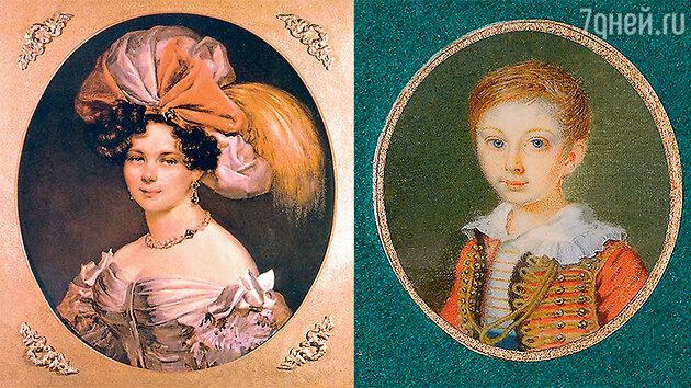 Анна Алексеевна Толстая, урожденная Перовская, и ее сын Алеша