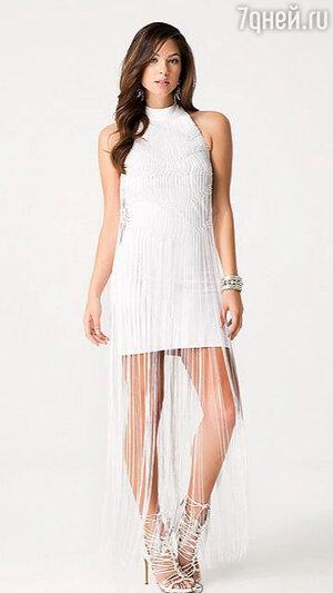 10. Белое платье с бахромой от Bebe, 8500 р.