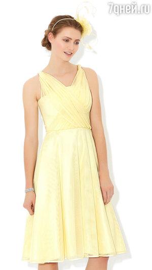 7. Платье лимонадного цвета с драпирующимся лифом Nancy от Monsoon, 11 990 р.