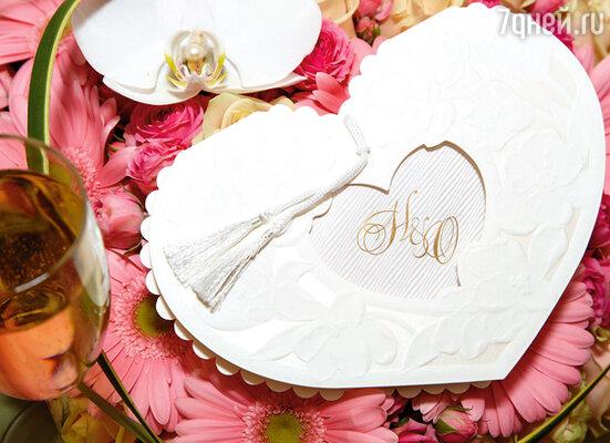 Приглашение на вечер в виде сердца с буквами «Н» и «О»