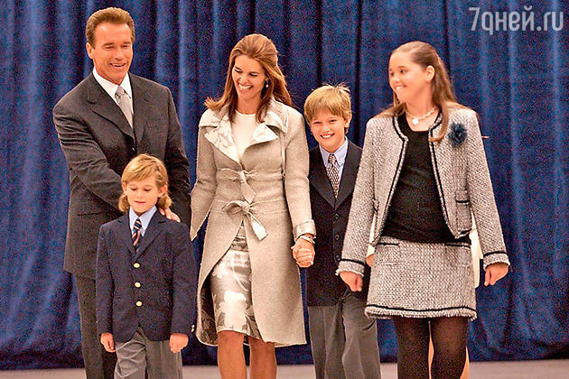 Арнольд Шварценеггер с женой и детьми