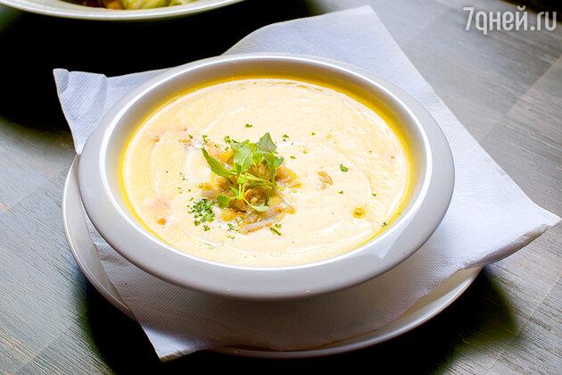 Суп-пюре с редькой и креветками